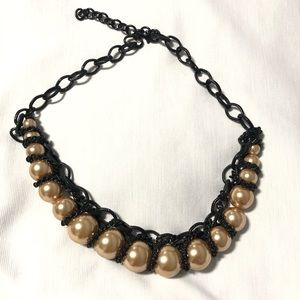 Oversized Pearls with Black Chains